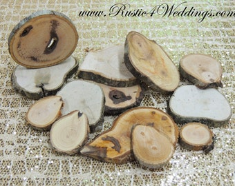 """100 hickory rustic wood slices1""""-3"""" for crafts, candles, decoration, blanks, rustic weddings"""