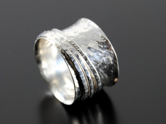 Silver wedding band fidget ring handmade stacking rings