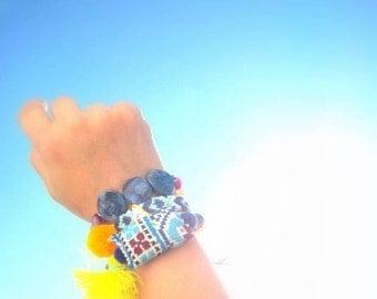 Unique Yoga Bracelets. Purple & Light Blue Handwoven Aztec style Friendship Bracelet and 2 OOAK Beaded Bracelet. Set of 3