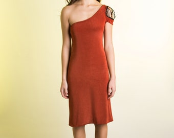 Assymetrical Copper One Shoulder A Line Silk Jersey Knit Dress with Black Beaded Netting Detail