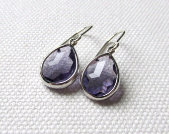 Purple Tanzanite Teardrop Earrings, Glossy, Silver Rhodium Dainty Modern Earrings, Minimalism, Bridal