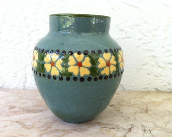 Vintage Art Pottery, Blue Glaze, Yellow Flowers, Navy Green Orange Accents, Sgraffito, Signed, Rare & Unique, Studio Pottery, One of a Kind