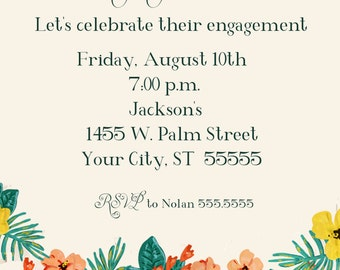 Tropical Engagement Party Invitation