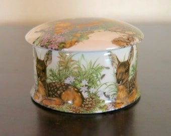 Newhall Staffordshire Fawn Trinket Box Picture Box Bone China made in England Vintage