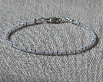 Palest blue chalcedony and silver bracelet