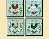 Rooster Coasters, Retro Kitchen Coasters,  Vintage Kitchen, Retro Roosters, Mid Century, Housewarming Gift, Hostess Gift, Shower Gift