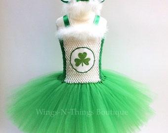 ST PATRICKS BEAR Costume Tutu Dress 2pc Set w/ Bear Ear Headband, Green, Lucky Charm, shamrock, first birthday, toddler, kids, girls, party
