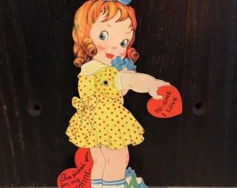 Vintage Die Cut Valentine's Day Card, Little Girl in Yellow Dress, Mechanical UNUSED Valentine, circa 1930s