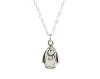 solid sterling silver penguin pendant