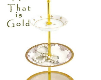 3 Tier Server Jewelry Display Stand Gold White China Pastry Stand Tiered Serving Tidbit Tray Server Hostess Gift Fleur De Lis Plate