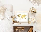 Gold Foil World Map Print, Gold Map Print, Foil Map, Map of the World Print, Gold Foil World Map Wall Art, Map Art