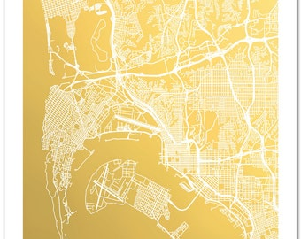 San Diego Map, Gold Foil Map of San Diego Gold Foil Print, Map Print, San Diego Wall Art, San Diego, City Map Print, Foil Pressed Art, Map