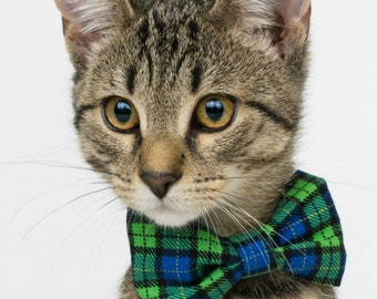 Green and Blue Plaid Cat Collar with Bow Tie, Bow Tie Cat Collar, Cat Collar with Bow Tie