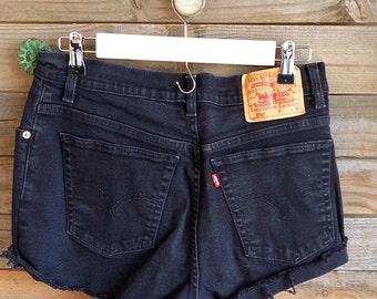 Vintage Black Denim Levi's 550 Cut-Offs