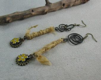 Silk earrings Dangle Earrings Asymmetric, Gypsy earrings, Boho Jewellery, Art Jewelry, Unique, OOAK
