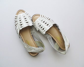 80s White Huaraches Woven Sandals Women's US Size 10 Narrow