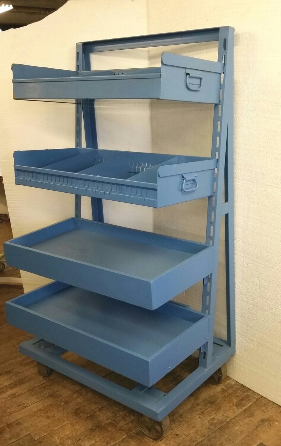 4 Bins Organizer Shelving Cart Blue Storage Bins Vintage