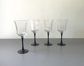 vintage Arcoroc Octime water glasses wine deco black France Luminarc set of 4