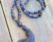 Beautiful frosted sodalite gemstone mala necklace