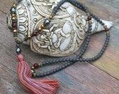 Beautiful frosted hematite gemstone mala necklace