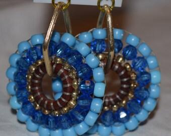 Handmade - Blue Beaded Earrings
