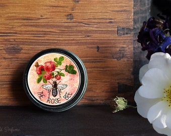 """Natural Beeswax Solid Honey Rose Perfume Tin  """"the Rose Bee"""" Botanical Fragrance Honeycomb, Rose, Hay, Clover cruelty free , 14 grams"""
