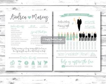 silhouette wedding program, wedding program, wedding party silhouettes, ceremony program, wedding program fan, INTABLE or PRINTED PROGRAMS