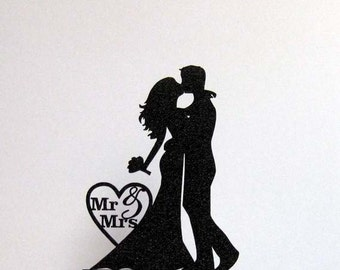 Wedding Cake Topper - Bride and Groom Wedding silhouette with Mr & Mrs