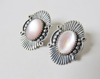 Sterling Silver Women's Earrings Southwestern Earrings Pink MOP Earrings Vintage Jewelry Post Earrings