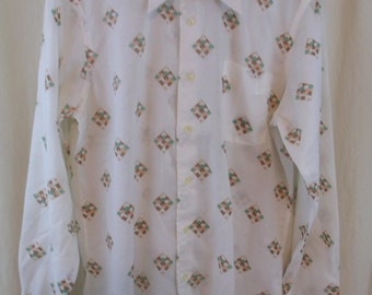 Vintage 60s 70s  Geometric Mod Squares Mens Shirt L 16
