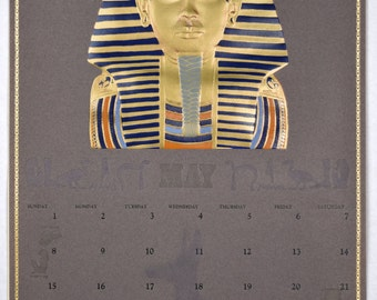 "Vintage 1988 A. Bauer, Inc. Feature Art Calendar Month of May   14"" x 20.75"" King Tut, Embossing & Foil Stamping"
