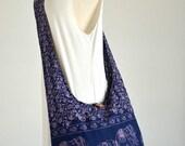 Elephant Bag Hippie Hobo Bag Sling Crossbody Bag Boho Bag Shoulder Bag Messenger Bag Cotton Bag Purse Tote Bag Handbags, Navy Blue