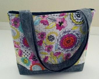 Floral Tote Bag, Fabric Tote Bag, Quilted Tote Bag, Grey Tote Bag, Shoulder Bag