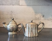 Vintage Silver Teapot Salt and Pepper Shakers - Silverplated Teapot - Salt and Pepper Shaker Set - Victorian Shabby Cottage Chic Decor