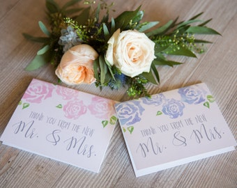 Wedding Shower Thank you From the New Mr. & Mrs. Cards Watercolor Floral Set of 16