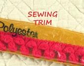 2 YARDS, 1950s Vintage, PINK Yarn, PomPom Sewing Trim, Polyester, 3/4 Inch Wide, L184
