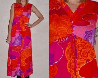 60s Psychedelic Bright Pink Orange Purple Floral Hawaiian Empire Tank Maxi Dress S