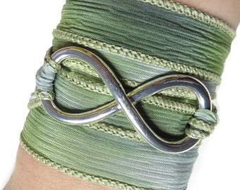 Infinity Silk Wrap Bracelet Infinity Jewelry Yoga Jewelry Bohemian Jewelry Wrap Bracelet Spiritual Karma Jewelry Birthday Love Unique Gift
