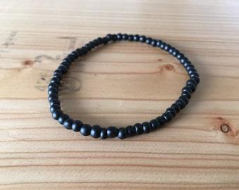 Men's & Women's Unisex Beaded Bracelet With Extra Small Matte Black Beads - Smallest Matte Black Beads