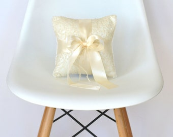 Wedding Ring Bearer Pillow - Ivory Sequin with Ivory Satin Bow