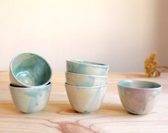Espresso cups Wheel thrown Stoneware Brilliant turquoise glaze - Ready to ship