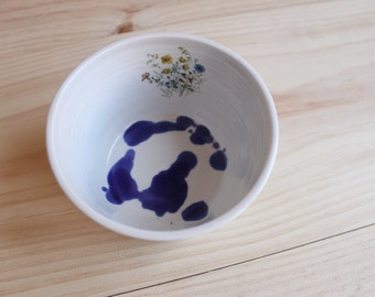 Flower decal bowl Cobalt blue white stoneware small bowl with blue spots