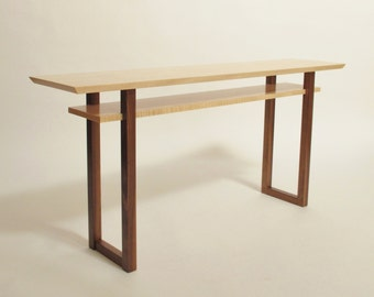 Handmade narrow wood sofa table console table by for Narrow console table modern