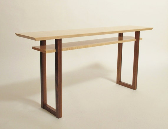 Contemporary long low console table narrow sofa table mid for Contemporary wood console tables