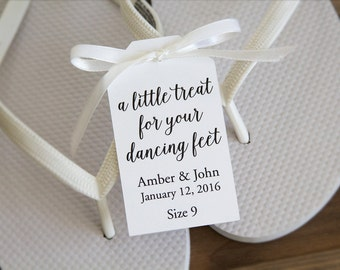 A little treat for your dancing feet - Flip Flop Tags - Slipper tags - Wedding Tags - Wedding Favor Tags - Dancing Shoes - LARGE