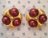 gorgeous Napier magenta shield pierced earrings