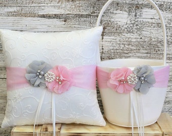 Your Colors , Flower Girl Basket and Ring Bearer Pillow Set , Gray and Pink Ring Bearer Pillow , Flower Girl Basket , Wedding Pillow