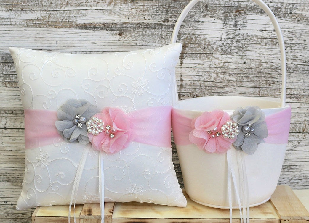 Your Colors Flower Girl Basket And Ring Bearer Pillow Set
