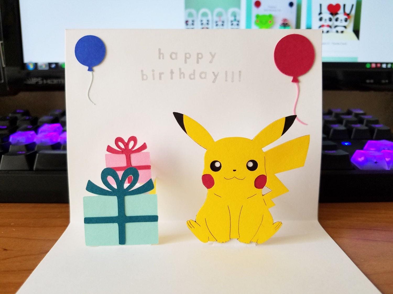 pop up card pikachu happy birthday, Birthday card