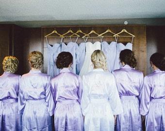 Lilac Bridesmaid Robes Set of 7, Embroidered Robe, Getting Ready Robe, Wedding Robe Bridesmaid Gifts, Bridal Robes and Bride Robe